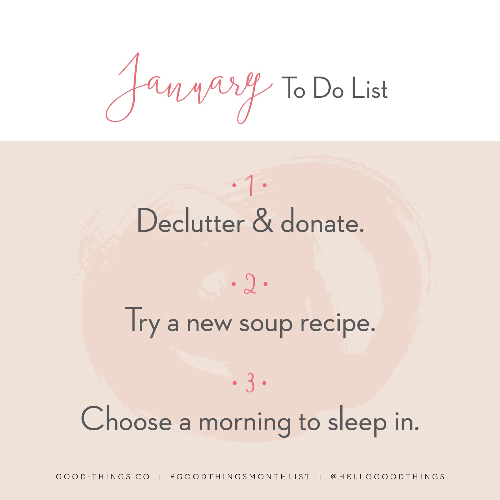 Good Things - January 2020 To Do List
